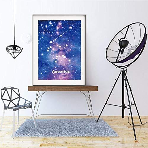 Geiqianjiumai Leinwandbild Poster Sternenuniversum Sternenhimmel zwölf Sternbilder Leinwandbild Wandbild Künstler Home Decoration Rahmenlose Malerei 40x50 cm