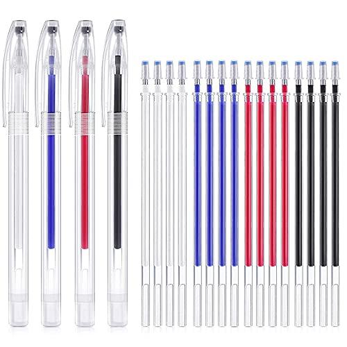 Bolígrafo Borrable de Calor con 20 Recargas Rotulador Borrable de Tela para Ropa, Costura, Varios Colores de Telas, 4 Colores