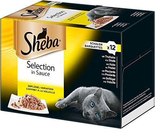 Sheba Comida húmeda para Gatos, Varios sabores, 72 tarrinas (6 x 12 x 85 g)