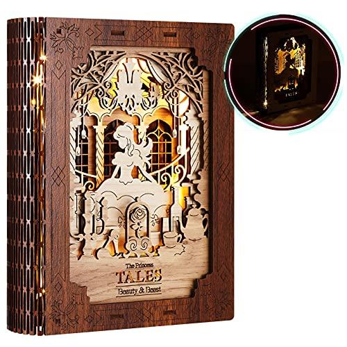FUNPOLA Lampe d'histoire de puzzle en bois 3D, lampe de chevet de chevet de puzzle 3D, lampe de livre pour enfants, jouet d'ornement de maison bricolage (La Belle et la Bête)