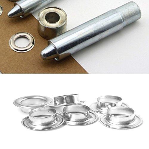 Outil de pose argenté pour œillets 100 x 14 mm avec trois œillets par Wedding Decor, pour trouer les vêtements, le cuir, pour le scrapbooking