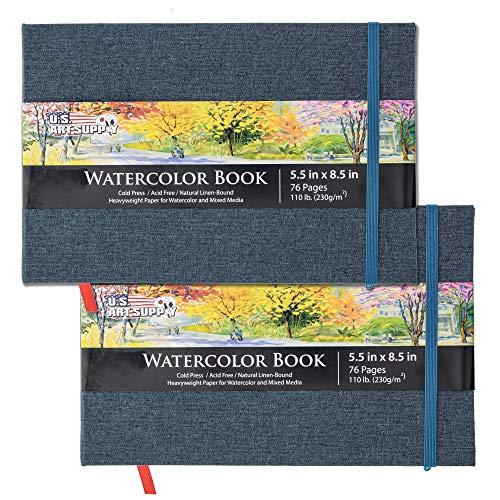 U.S. Art Supply 5.5' x 8.5' Watercolor Book, 2 Pack, 76 Sheets, 110 lb...