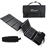 soyond Portable Solar Generator with Solar Panel Solar BT Speaker System with Flashlights Bluetooth, MP3 Player, FM Radio for Home Emergency Backup Power Camping Outage (Orange Retro Style)