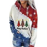 Merry Christmas - Sudadera con capucha para mujer de manga larga con cordón ajustable, diseño de copo de nieve, rojo, XL