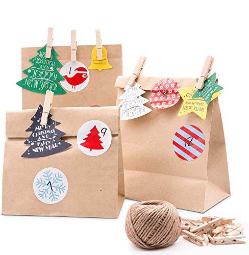 SPECOOL Calendario de Adviento Bolsa Papel Kraft marrón para empacar Regalos Dulces y Caramelos Pegatinas para niños Suministros de Fiesta de Navidad