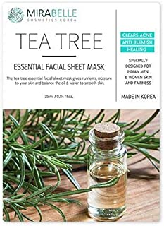 MIRABELLE KOREA TEATREE ESSENTIAL FACIAL SHEET MASK(PACK OF 5)