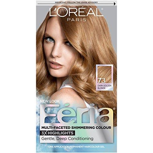 L'Oreal Paris Feria Multi-Faceted Shimmering Permanent Hair Color, 73 Golden Sunset (Dark Golden Blonde), Pack of 1, Hair Dye