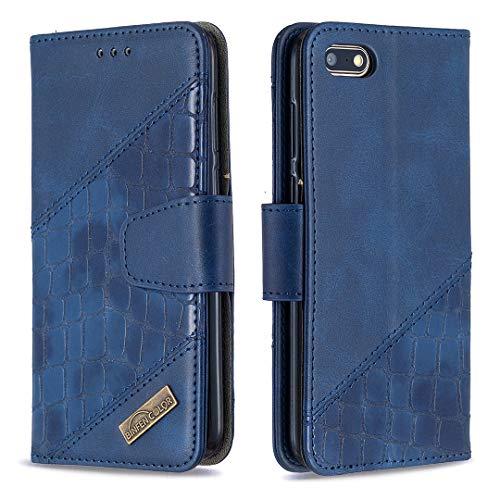 Lomogo Huawei Y5 2018/Honor 7S Hülle Leder, Schutzhülle Brieftasche mit Kartenfach Klappbar Magnetisch Stoßfest Handyhülle Case für Huawei Y5 2018 - LOBFE200297 Blau