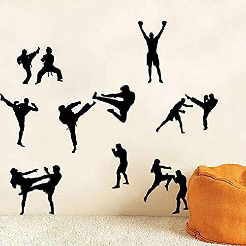 Martial Karate Taekwondo Wandtattoo Jungenzimmer Kinderzimmer Martial Karate Boxen Judo Sport Wandaufkleber Schlafzimmer Fitnessstudio Workout Vinyl56x60cm