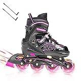 Opurtdor Patines en línea, Patín sobre Ruedas Iluminadas,Inline Skates Ajustables Adultos cómodo Zapatos de Patinaje de Velocidad para Especializados (Rosa, Large(37-42))