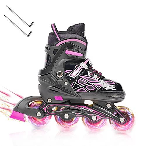 Opurtdor Patines en línea,Ajustable Diversión Flashing Roller para Chicos y Chicas Hombres Mujeres Zapatos de Patinaje de Velocidad para Principiantes Especializados(Rosa, Medium(31-37))