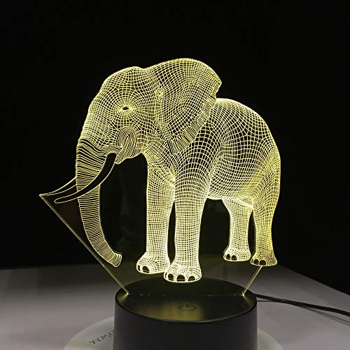 Leuke olifant 3D illusie tafellamp LED nachtlampje met olifantenvorm dier 7 kleuren Change Effect kinderen hobby lamp