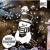 Wandtattoo Loft Fensterbild Weihnachten Schneemann mit Eule und Schneeflocken Wiederverwendbare Fensteraufkleber Fensterdeko Kinder