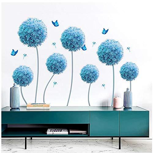 KBIASD Creativo autoadhesivo 3D flor azul pegatinas de pared fondo del hogar decoración de la pared decoración de la sala de estar decoración del dormitorio pegatinas 195x110cm