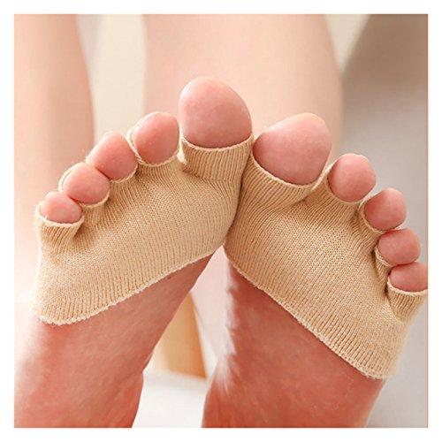 ECYC Anti Slip High Heels Sandale unsichtbare halbe Footie offene Zehensocken, Beige