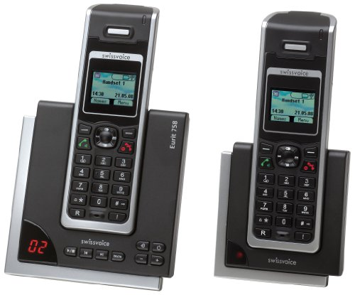 Swissvoice Eurit 758 Duo Schnurloses ISDN-Telefon (DECT) mit Anrufbeantworter und optischer Signalisierung im FullEco