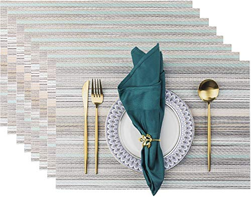 Placemats, Placemats for Dining Table Set of 8 Waterproof, Woven Place Mats for Kitchen Table Vinyl Heat Insulation Stain Resistant Placemats (Set of 8, Blue Stripes)