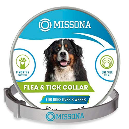 Missona Dog Flea and Tick Collar - Flea and Tick Prevention for Dogs, Easily Adjustable for Large and Small Dogs Tick Control Collar, Dogs Flea Treatment, 24.4 in