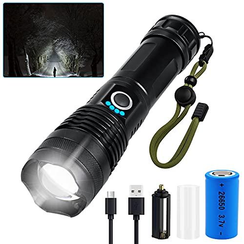 Torcia elettrica,6000 lumen lampada ricaricabile USB, torcia da campeggio super luminosa con 5 modalità di illuminazione, torcia tattica impermeabile per emergenze in campeggio