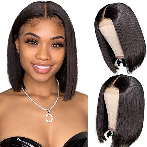 Bob Lace Front Wigs Human Hair 4x4 Middle Part Wigs Short Straight Bob Wigs Human Hair Brazilian Lace Front Wigs for Black Women 180%Density Natural Color(10inch)