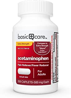 Basic Care Extra Strength Pain Relief, Acetaminophen Caplets, 500 mg, 200 Count