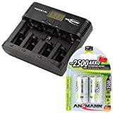 ANSMANN Akku-Ladegerät für AA/AAA/C/D/9V-Block NiMH Akkus - Batterieladegerät mit 5 Ladeprogrammen: Laden, Entladen, Testen, Refresh, Schnellladen + USB - Powerline 5 Pro + 2x 2500mAh Baby C Akkus