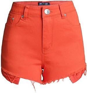 Jieming 夏のソリッドカラーワイドレッグショーツ女性スリム薄いハイウエストキャンディーカラーのホットパンツ (Color : Orange, Size : S)