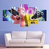 5 Piezas HD Animación Póster Decoración Bob Esponja Pantalones Cuadrados Patrick Star Dormitorio Sala De Estar Pintura De La Pared Pintura De La Lona,B,40×60×2+40×80x2+40×100×1