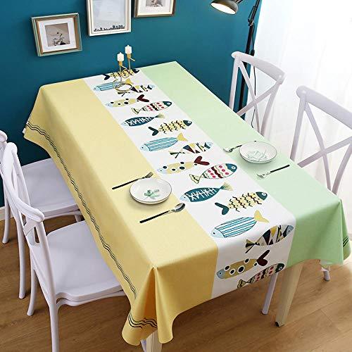 Yinaa Mantel para Mesa de Cocina o Salón Hojas Rectangular Anti Scalding Wear Resistant Impermeable Diseño de Comedor decoración del Hogar Yellow Green 140×140cm Lace