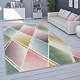 Alfombra Salón Pelo Corto Moderno En Colores Pastel, Distintos Colores Y Tamaños, tamaño:200x280 cm, Color:Multicolor 3