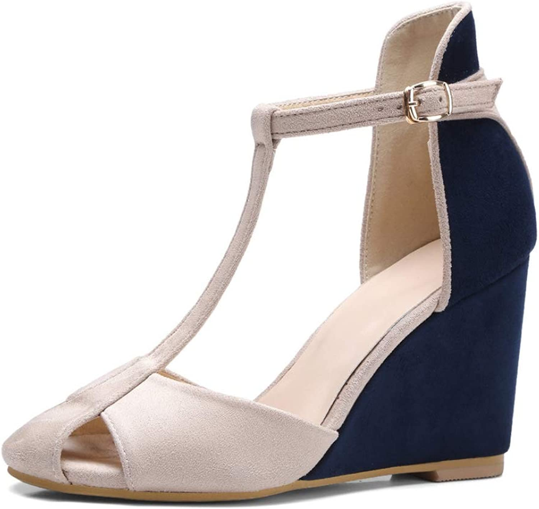 Hoxekle Summer Women Sandals Platform Wedges High Heel Sandals Woman T-Strap Buckle Peep Toe Sandals Girl Sandals