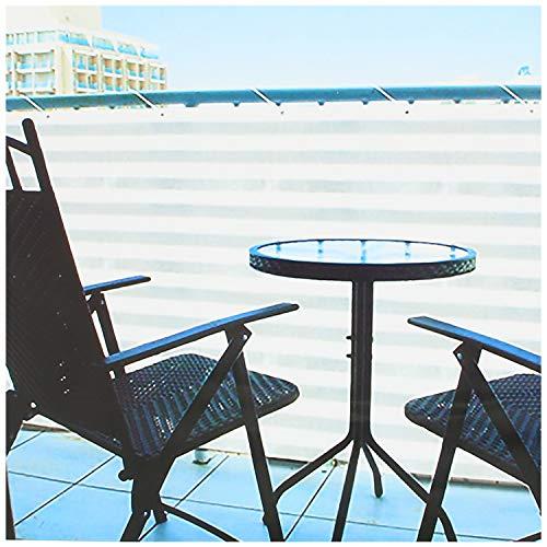 com-four® Blickdichter Balkon-Sichtschutz - Balkonumspannung mit Kordel zur Befestigung - auch als Windschutz und Sonnenschutz geeignet (1 Stück - 600 x 90cm - grau/weiß)