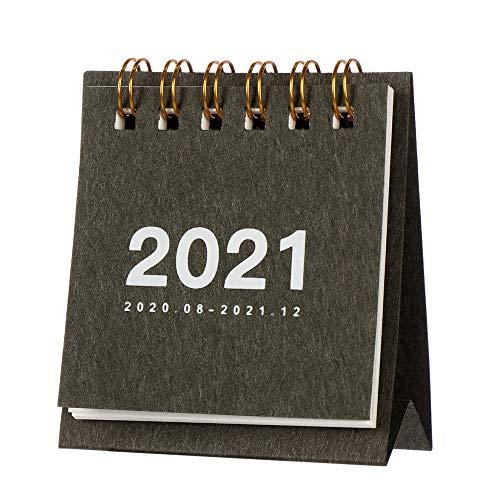 Calendario de escritorio, calendario 2021, papel kraft multifunción, agenda de agenda para suministros escolares y de oficina (negro)