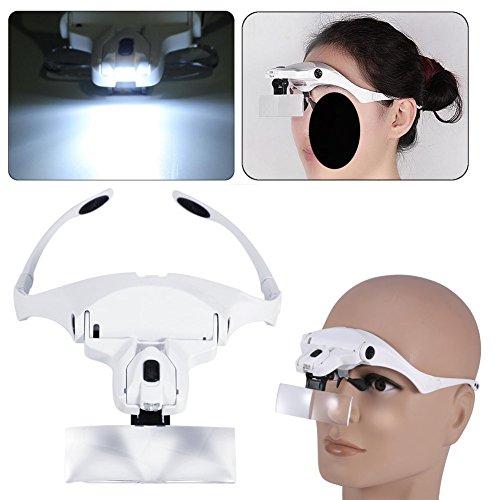 Lupa, lupa de cabeza diadema LED lupa lupa lupa de cristal para...