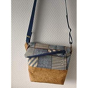 Ausgefallene Damen-Handtasche – Foldover – Kork Gold-Glimmer + Maritim Neu