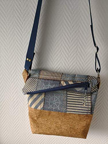 Ausgefallene Damen-Handtasche - Foldover - Kork Gold-Glimmer + Maritim Neu