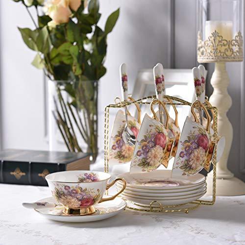 Bone china theekopje/schotel en lepel set, geschikt voor thuis, restaurant, display en vakantie geschenken, platina, (een set),c