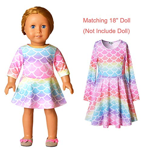 Jxstar Girls/&Doll Matching Dresses Long Sleeve Unicorn Mermaid Outfits Clothes