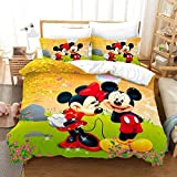 3Pcs Mickey Minnie Mouse Kids Bedding Set Queen Size 3D Cartoon Mickey Theme Duvet Cover for Boys Girls Toddler Soft Microfiber Comforter Cover Bedding Set with 2 Pillowcases (C,Queen(90'x90'))