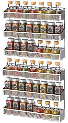 Bextsrack 3-Tier Spice Rack Organizer 2 Pack Counter-top or Wall Mount Spice Rack Shelf Jars Storage Organizer for Kitchen Cabinet Pantry Door Silver