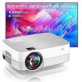 Proiettore Portatile Supporta 1080P Full HD Videoproiettore di film 6500 Lumens Home cinema Proiettore,Schermo proiezione incluso, per Laptop/HDMI/USB/AV/TF/PS5