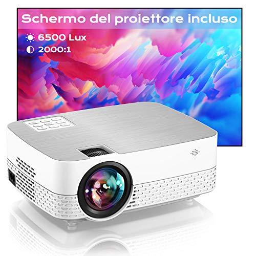Proiettore 6500 Lumens , Videoproiettore Full HD 1080P Portatile Movie Proiettore, Schermo del proiettore incluso, Home cinema Proiettore, per HDMI,USB,AV,TF,PS4