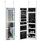 Casaria Armario para Joyas con Espejo Blanco con Luces LED 31,5x9x110cm Armario Colgante para la Puerta joyero almacenaje