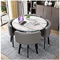 ダイニングテーブルセット 80cm / 90cmオフィスフロントレジャーテーブルシンプルな木製ラウンドテーブルメタルレッグ4レザーチェア LLCC (Color : Gray, Size : 90cm/35in)