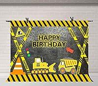 HD建設テーマ誕生日パーティー写真の背景建設現場トラックブルドーザー背景ケーキテーブル装飾用品スタジオ小道具10X7ft BJQQFU210