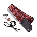 Kliq vintage tissé Sangle de guitare pour guitares acoustiques et électriques | '60s en tissage Jacquard Hootenanny Style Bracelet en caoutchouc | 2serrures incluses Woodstock Red