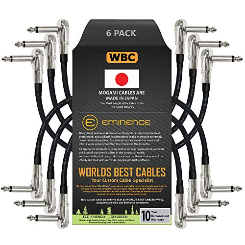 6 Units - 6 Inch - Pedal, Effects, Patch, Instrument Cable Custom Made by WORLDS BEST CABLES  Made Using Mogami 2319 Wire and Eminence Nickel Plated  inch (6.35mm) R/A Pancake Type Connectors