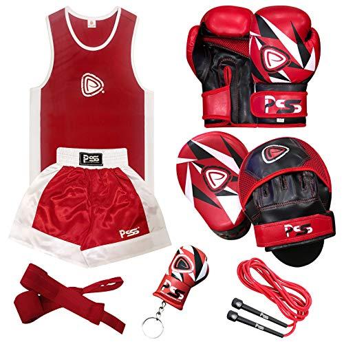 PRIME Uniforme Camiseta & Pantalones Cortos Boxeo Niños + Guantes Boxeo Rojo Blanco (1008) con Escudo Negro Rojo 1103 - Guantes Boxeo (1008) Escudo (1103), Uniforme 9-10 Años