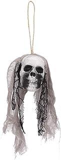 Halloween Hanging Skull, 2Pcs Halloween Skeleton Skull Hanging Pendant Haunted House Horror Props Decoration