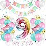 Decoración de Cumpleaños 9 Año Rosa, TOLOYE Decoración Cumpleaños Niña 9 año, Globos de Cumpleaños Niña con pancarta de Happy Birthday Globos Confeti Aluminio para Niña Niño